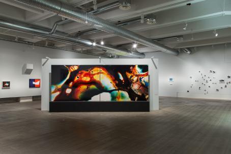 Näyttelyssä esillä oleva iso valokuvateos, jossa on värikkäitä pehmeitä muotoja ja niiden välissä mustaa.