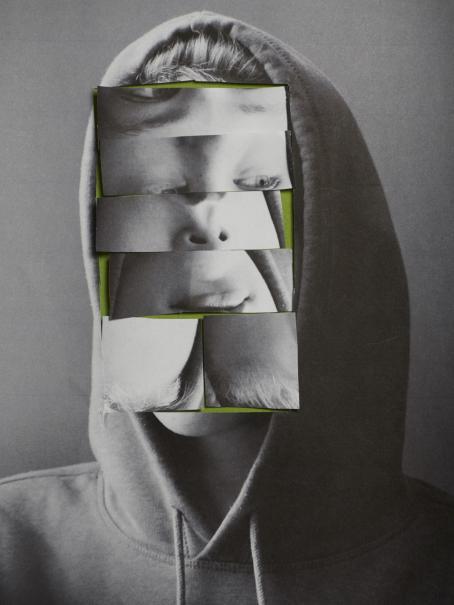 Mustavalkoisessa kuvassa on huppupäinen henkilö. Kasvojen kohdalle on liitetty kapeita suorakulmioita, joissa näkyy osia kasvoista.