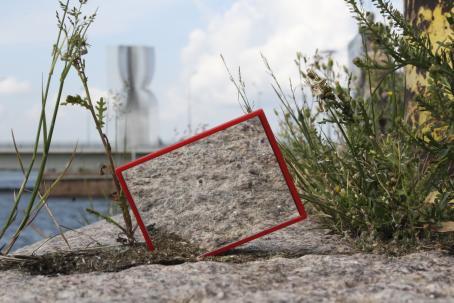 Merenrannassa olevaan kiviaitaan on laitettu pystyyn peili, joka heijastaa kiveä. Peilin ympärillä kasvaa kasveja.