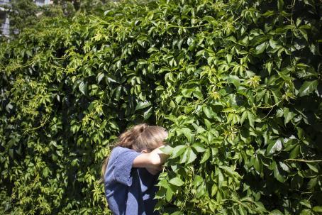 Vihreän pensaan tai pensasaidan vieressä seisoo tyttö, joka on peittänyt kasvonsa käsivarrellaan. Aurinko paistaa.