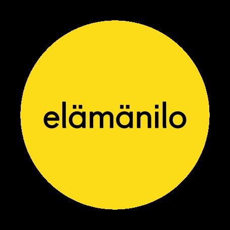 """Keltainen ympyrä, jonka sisällä lukee mustalla tekstillä sana """"elämänilo""""."""