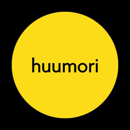 """Keltaisen ympyrän sisällä lukee mustalla """"huumori""""."""