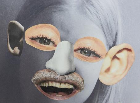 Pohjana on mustavalkoinen kuva ihmisen kasvoista. Siihen on liitetty värilliset silmät, suu ja korvat muusta kuvasta.