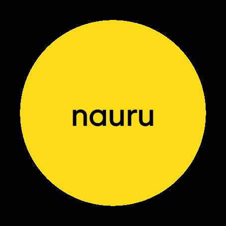 """Keltaisen ympyrän sisällä lukee mustalla """"nauru""""."""
