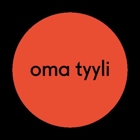"""Punaisen ympyrän sisällä lukee mustalla """"oma tyyli""""."""