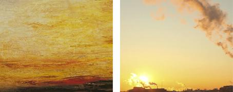 Yann Mingard: Joseph Mallord William Turner, Sunset, c.1830-5, (detail). p.07: Detail of a screenshot of an image found on Google Images with the keywords « AQI+ air pollution in China 2015 ».