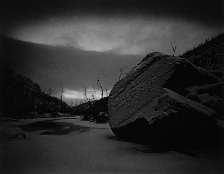Mustavalkoinen maisema, etualalla suuri kivi ja taustalla käppyräisiä puita taivasta vasten.