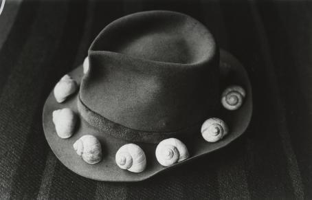Mustavalkoisessa kuvassa on hattu, jonka lierillä on hatun ympärillä kotiloita.