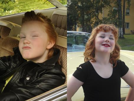 Kaksi kuvaa vierekkäin. Toisessa kuvassa autossa istuu lapsi jolla on lyhyet hiukset ja nahkatakki. Toisessa kuvassa auton edessä seisoo lapsi, jolla on musta paita, pitkät hiukset ja meikkiä.