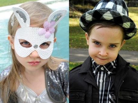 Vierekkäin kaksi kuvaa. Toisessa lapsi jolla on pupunaamari, pitkät hiukset ja kimaltava paita. Toisessa taas lapsi jolla on lyhyet hiukset, hattu, kauluspaita ja musta takki.