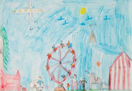 Piirustus, jossa maailmanpyörä, sirkusteltta, norsuja, pelle ja taivaalla lentää lentokone.