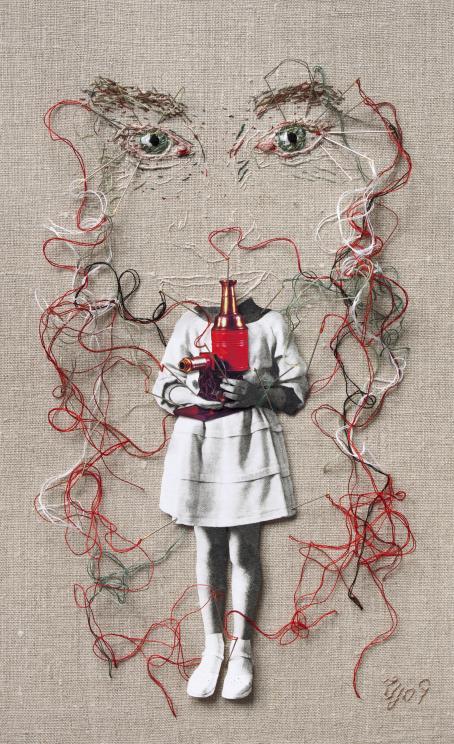 Kaksi kirjottua silmää, joista roikkuu lankoja alaspäin. Lankojen keskelle on liitetty mustavalkoinen päätön hahmo, joka pitää käsissään jonkinlaista pulloa. Yksi lanka menee pullon sisälle.