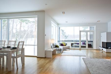 Näkymä asunnosta. Seinät ovat valkoiset ja lattia vaaleaa puuta. Vasemmalla näkyy keittiönpöytää ja iso ikkuna, oikealla puolella valkoinen takka, kaksi nojatuolia ja iso ikkuna jonka takana parveke. Ulkona on lumista maisemaa.