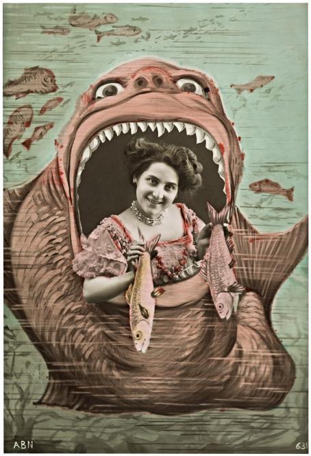 Iso kala tai hirviö jonka suu on auki, suussa on nainen joka pitää käsissään kahta kalaa.