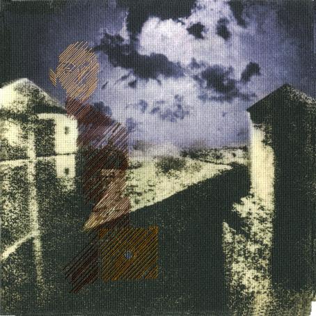 Näkymä taloja ja taivasta, jonka päälle on ommeltu ihmisen hahmo.