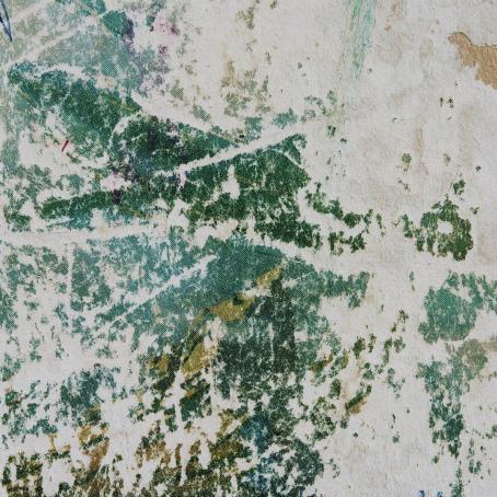 Vihreää ja valkoisia kuin kuluneita kohtia.