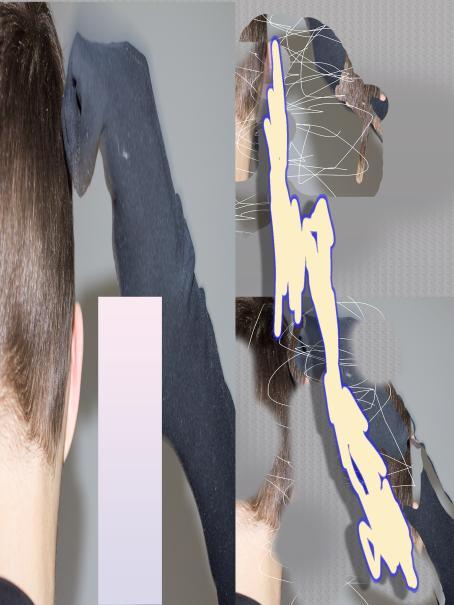 Vasemmassa reunassa näkyy vähän ihmisen päätä. Muuallakin kuvassa sitä näkyy osittain, lisäksi kuvassa on piirretty päälle valkoisella ja tummemmalla.