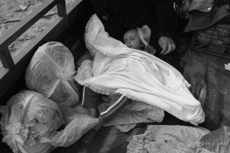 Mustavalkoisessa kuvassa vauva nukkuu valkoisen peitteen alla, istuvan aikuisen jalkojen päällä. Hänen vieressään on kaksi isoa kerää salaattia.