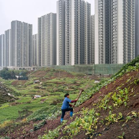 Nainen kuokkii maata rinteessä. Takana levittäytyy iso puutarhamainen alue, jossa näkyy välillä multaa ja välillä nurmikkoa ja erilaisia kasveja. Tämän alueen takana on rivissä samanlaisia korkeita kerrostaloja.