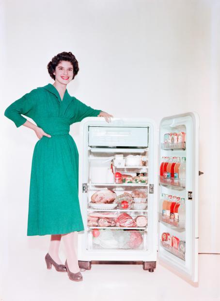 Nainen vihreässä mekossa seisoo häntä lyhyemmän jääkaapin vieressä nojaten siihen. Jääkaapin ovi on auki, ja se on täynnä ruokaa.