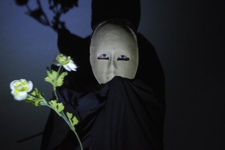 Tummasävyisessä kuvassa henkilö, jolla on vaalea maski päässä. Maskissa on silmänreiät. Henkilöllä on tummat vaatteet, ja hänen varjonsa näkyy takana olevalla seinällä. Etualalla on hieman epäterävä kukka.