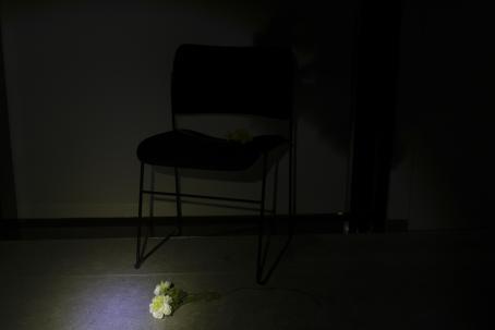 Hyvin tummassa kuvassa erottuu seinän vieressä oleva tuoli. Sen edessä lattialla on kukka, johon kohdistuu hailakka valokeila. Valo valaisee myös tuolia hieman.