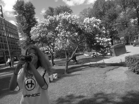 Katunäkymä kesällä, mustavalkoinen kuva.