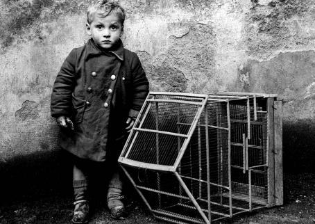 Mustavalkoisessa kuvassa lapsi seisoo kiviseinän edessä ja hänen vieressään on jonkinlainen pieni häkki.