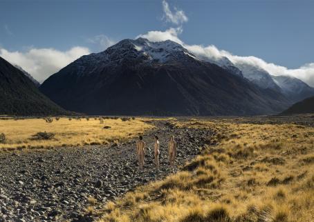 Sasha Huber. Agassiz: The Mixed Traces Series. Somatological Triptych of Sasha Huber IV, Agassiz Range, New Zealand, 2015.