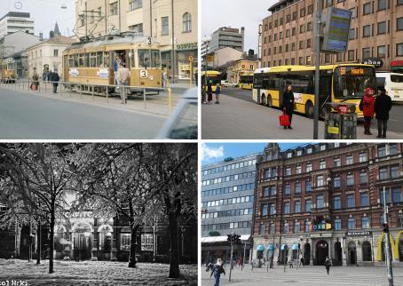 Neljän kuvan kollaasi. Ylhäällä vasemmalla vanhassa kuvassa haaleankeltainen raitiovaunu 3 on pysähtynyt pysäkille. Sen takana tulee ratikka 2. Oikeassa olevassa kuvassa on keltainen bussi numero 56 pysäkillä. Takana näkyy samat rakennukset kuin edellisessäkin kuvassa. Alhaalla vasemmalla on mustavalkoinen kuva, jossa lumisten puiden takana näkyy rakennus, jossa lukee luultavasti Capitol. Oikealla puolella olevassa kuvassa on Forum-kauppakeskus.