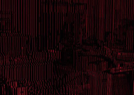 Mustalla taustalla eripituisia punaisia pystyviivoja.